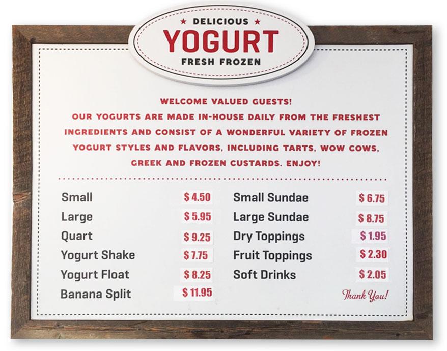 Frozen Yogurt Prices