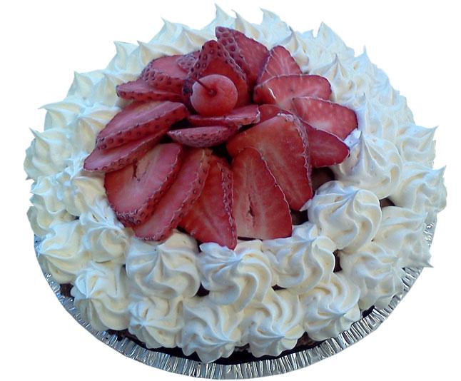 Fresh Strawberry and Whipped Cream Ice Cream Pie